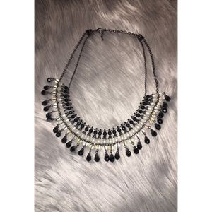 Black Crystal & Pearl Necklace